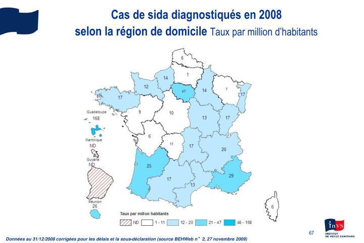 Cas de sida diagnostiqués en 2008