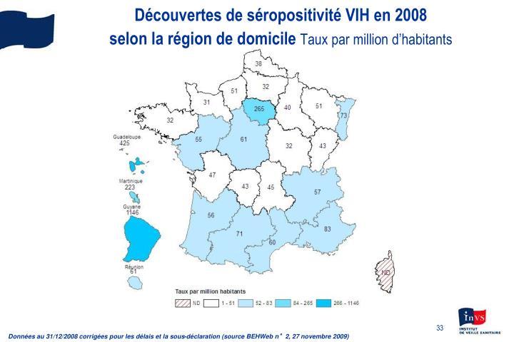 Découvertes de séropositivité VIH en 2008
