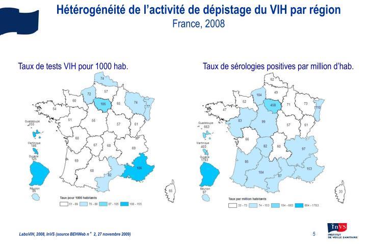 Hétérogénéité de l'activité de dépistage du VIH par région