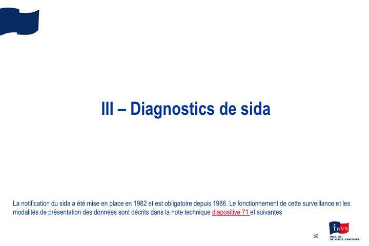 III – Diagnostics de sida
