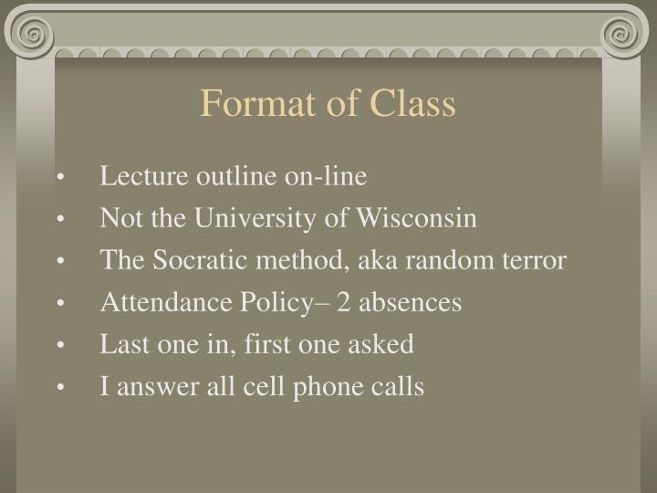 Format of Class