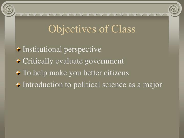 Objectives of Class