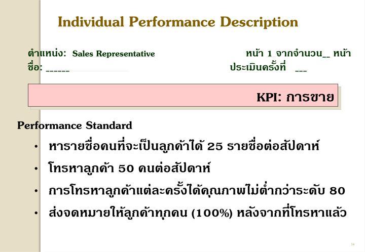 Individual Performance Description