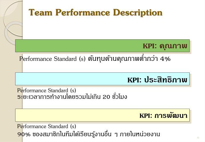 Team Performance Description