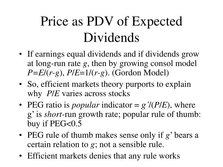 Price as PDV of Expected Dividends