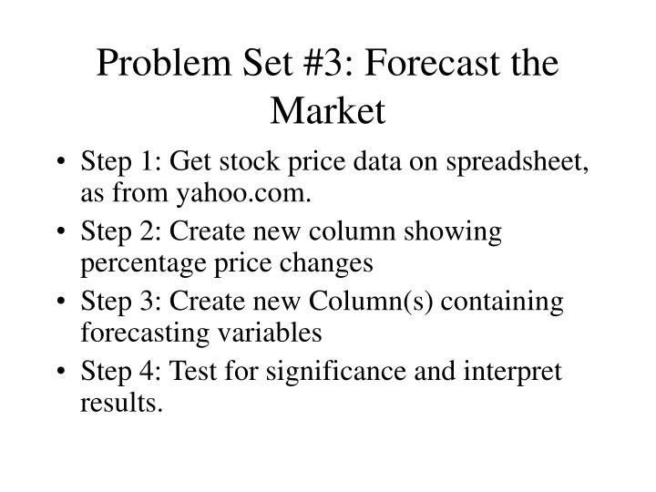Problem Set #3: Forecast the Market