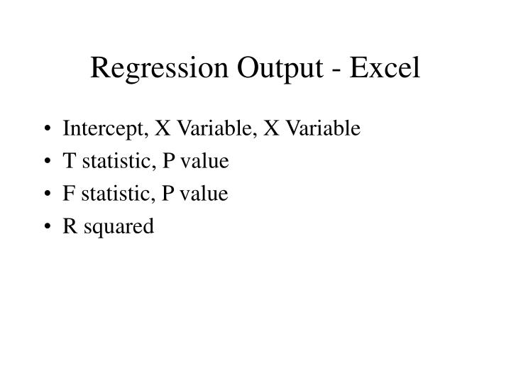 Regression Output - Excel