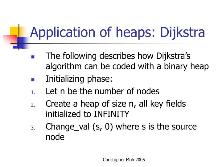 Application of heaps: Dijkstra