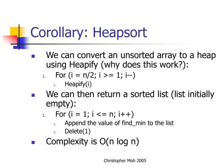 Corollary: Heapsort
