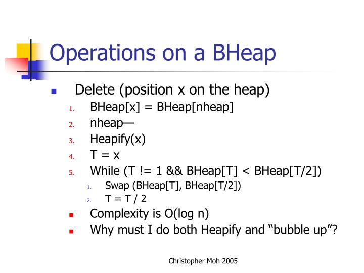 Operations on a BHeap