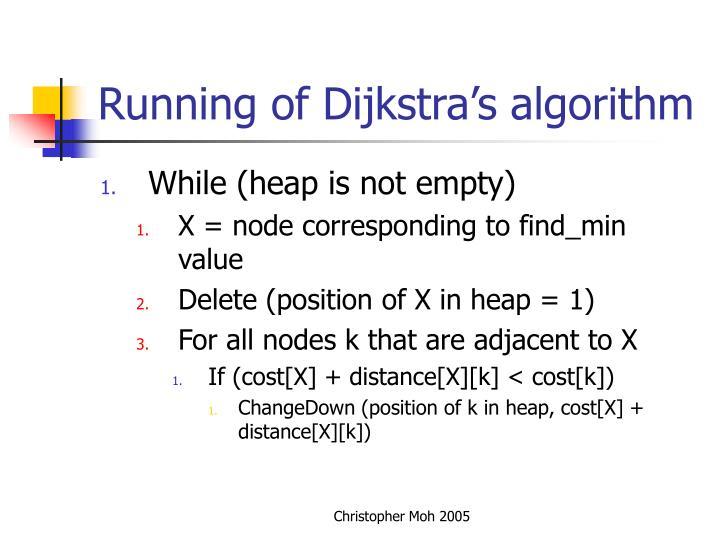 Running of Dijkstra's algorithm
