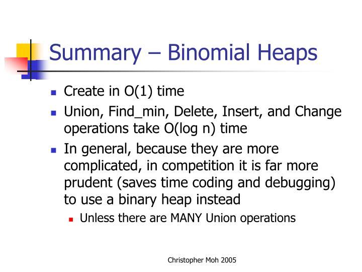 Summary – Binomial Heaps