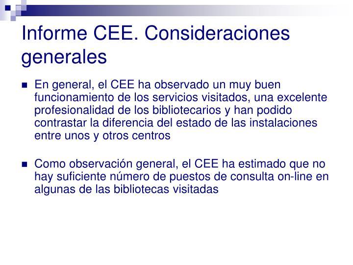 Informe CEE. Consideraciones generales