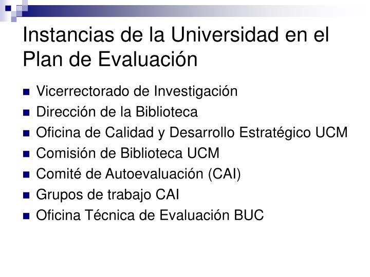 Instancias de la Universidad en el Plan de Evaluación