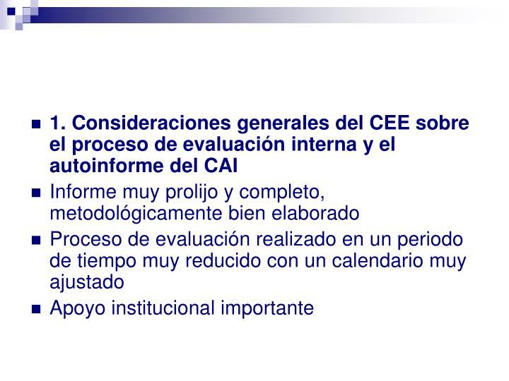 1. Consideraciones generales del CEE sobre el proceso de evaluación interna y el autoinforme del CAI