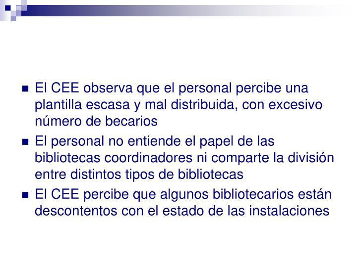 El CEE observa que el personal percibe una plantilla escasa y mal distribuida, con excesivo número de becarios