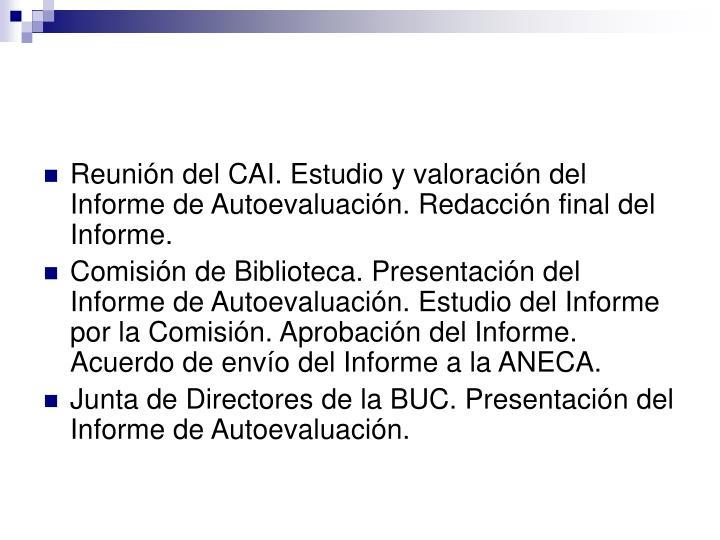 Reunión del CAI. Estudio y valoración del Informe de Autoevaluación. Redacción final del Informe.