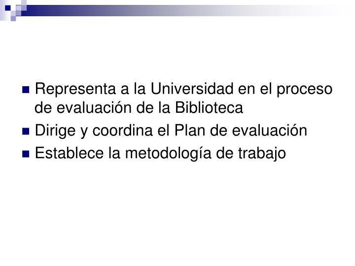 Representa a la Universidad en el proceso de evaluación de la Biblioteca