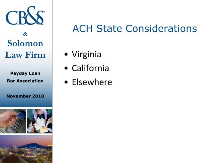 ACH State Considerations