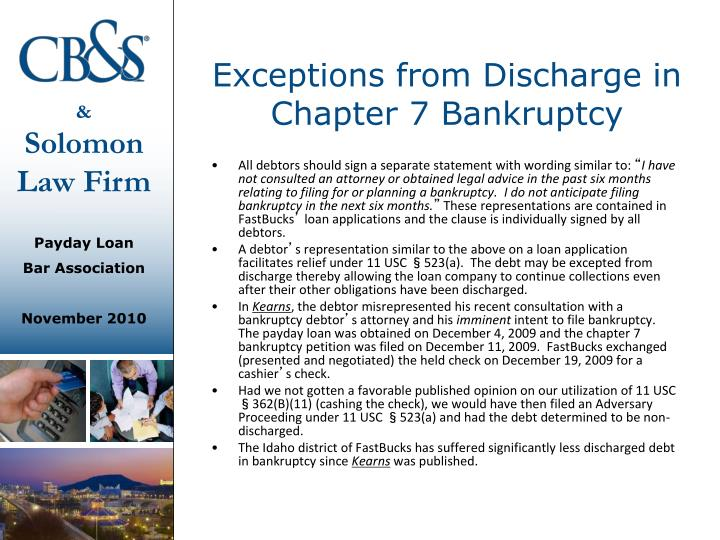 Exceptions from Discharge in Chapter 7 Bankruptcy