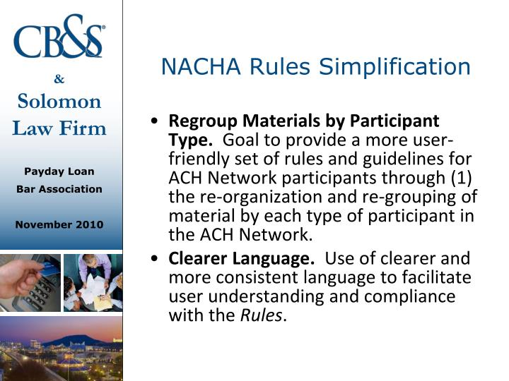 NACHA Rules Simplification