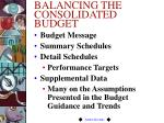 balancing the consolidated budget