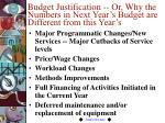 budget justification or why the numbers in next year s budget are different from this year s