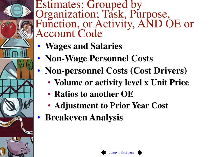 Estimates: Grouped by Organization; Task, Purpose, Function, or Activity, AND OE or Account Code