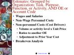 estimates grouped by organization task purpose function or activity and oe or account code