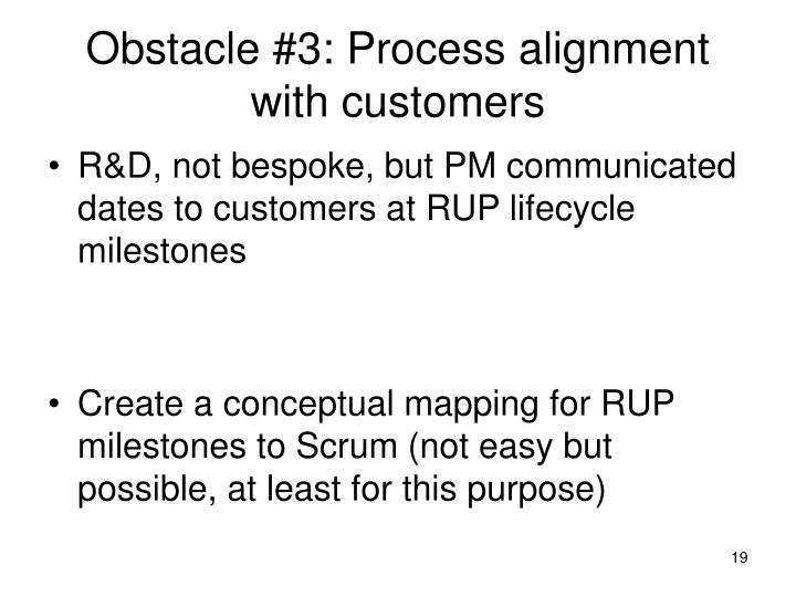 Obstacle #3: Process alignment with customers