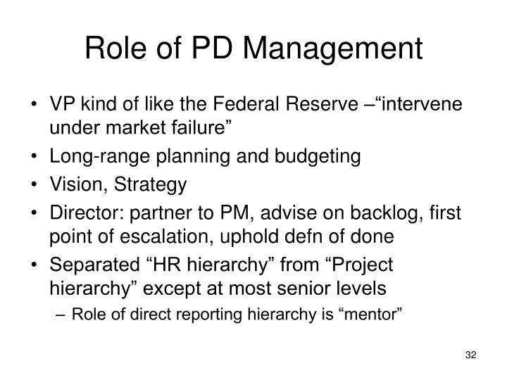 Role of PD Management