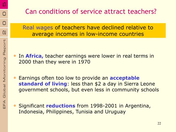 Can conditions of service attract teachers?