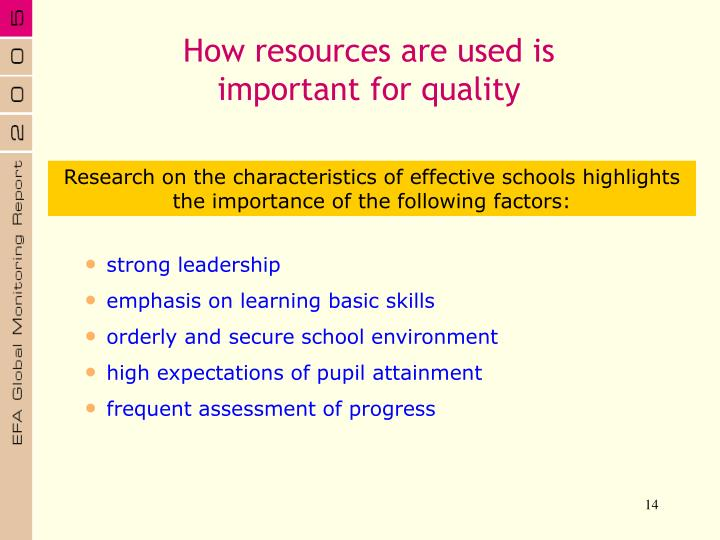 How resources are used is important for quality