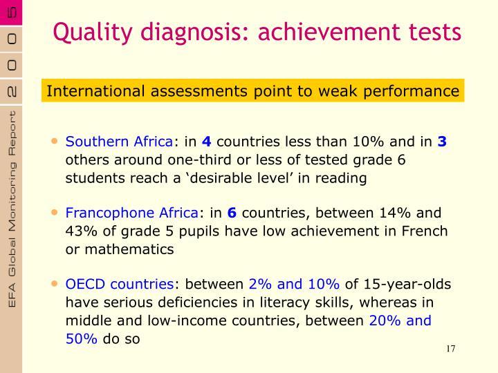 Quality diagnosis: achievement tests