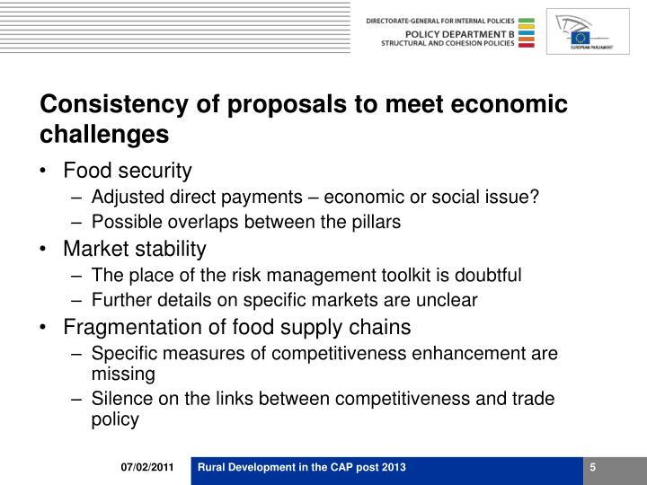 Consistency of proposals to meet economic challenges