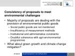 consistency of proposals to meet environmental challenges