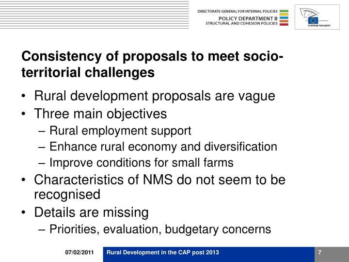 Consistency of proposals to meet socio-territorial challenges