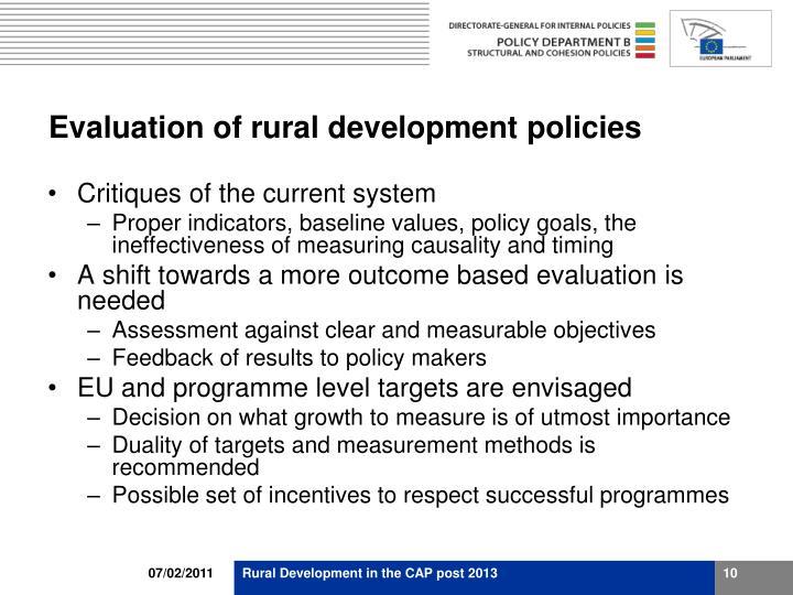 Evaluation of rural development policies