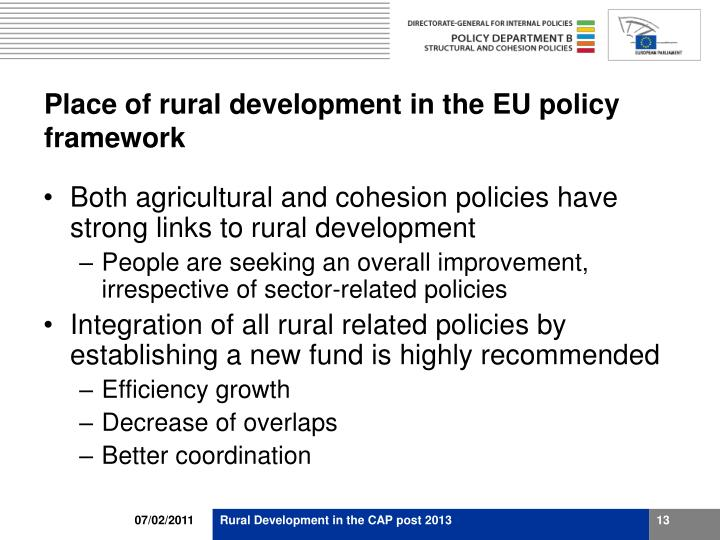 Place of rural development in the EU policy framework