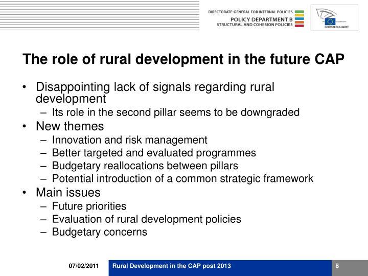 The role of rural development in the future CAP
