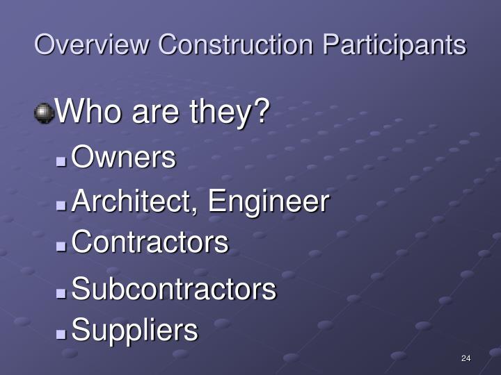 Overview Construction Participants