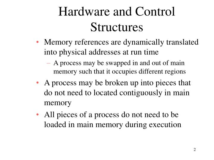 Hardware and control structures