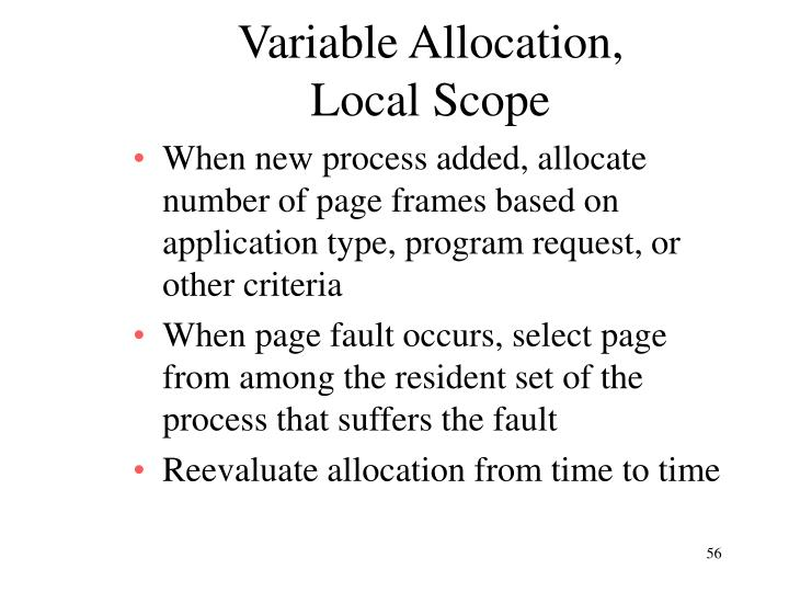 Variable Allocation,