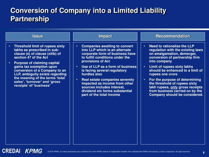 Conversion of Company into a Limited Liability Partnership