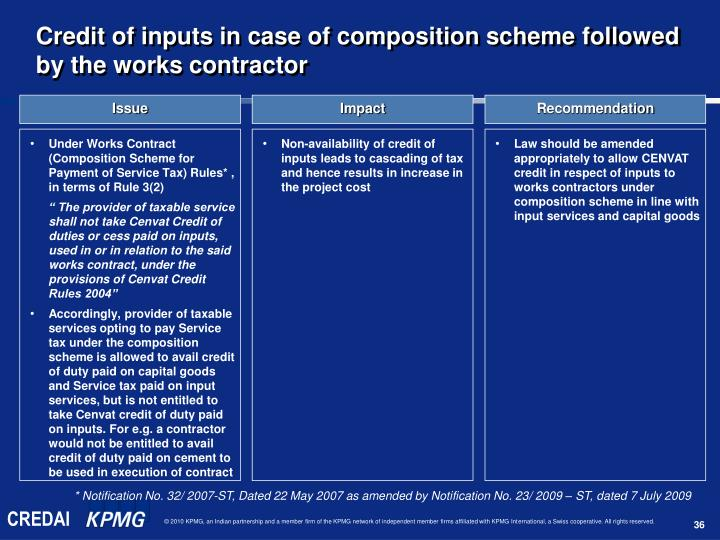Under Works Contract (Composition Scheme for Payment of Service Tax) Rules* ,  in terms of Rule 3(2)