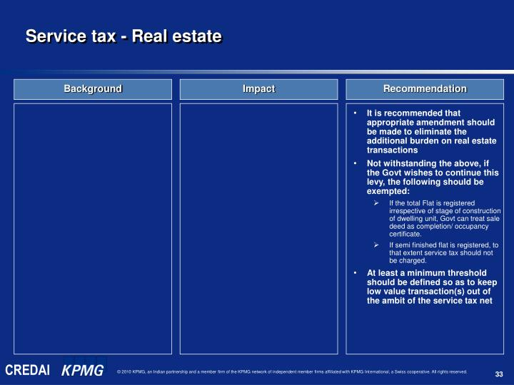 Service tax - Real estate