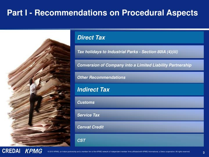 Part I - Recommendations on Procedural Aspects