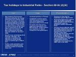 tax holidays to industrial parks section 80 ia 4 iii