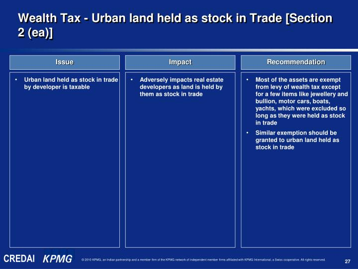 Urban land held as stock in trade by developer is taxable