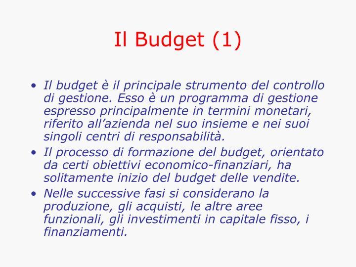 Il Budget (1)